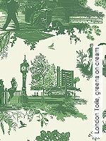 Tapete  - Timorous Beasties London Toile, greens on cream