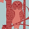 Tapeten: The Owls, red