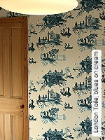 Tapete  - Timorous Beasties London Toile, blues on cream