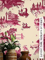 Tapete  - Timorous Beasties London Toile, red&pink on cream
